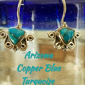 Genuine Copper Blue Turquoise Earrings Sterling